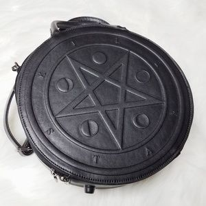 Killstar Black Crossbody Strap Circle Pentagram